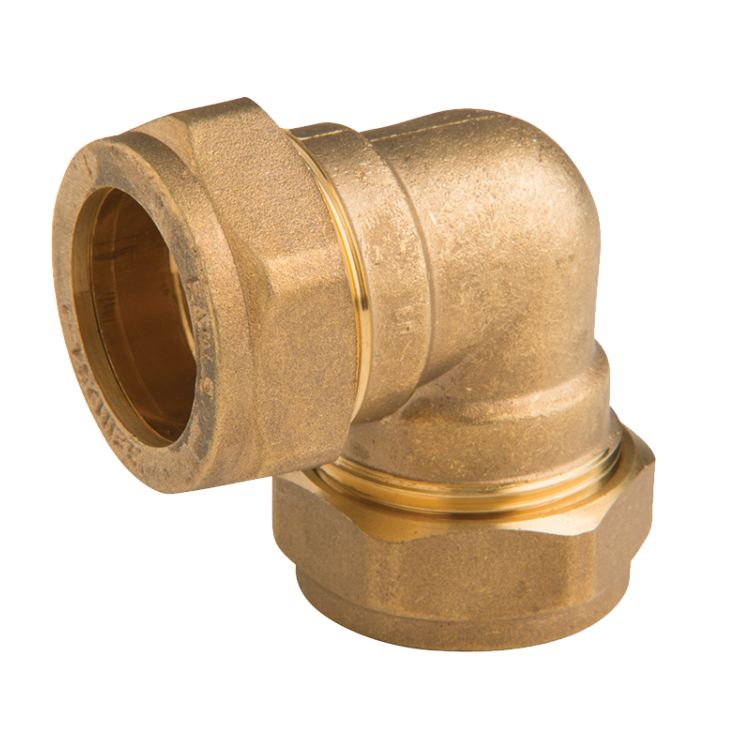DZR Brass Crox Elbow 25mm with 2 Nuts Copper x Copper