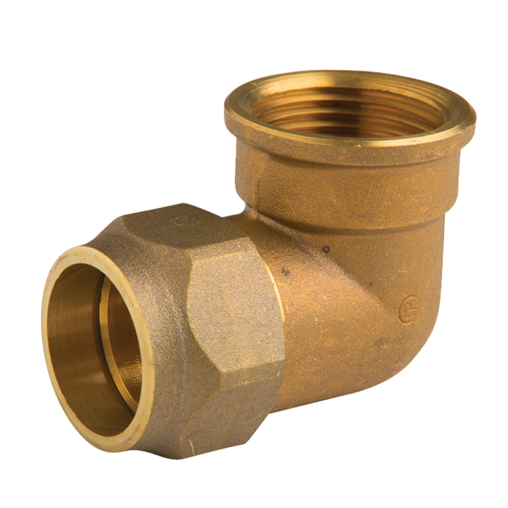 DZR Brass Crox M & F Elbow 25mm with 1 Nut Copper x Male Iron