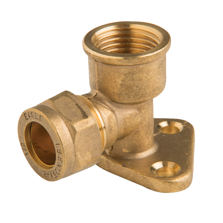 Brass Compression Elbow Wall Plate (3 holes)
