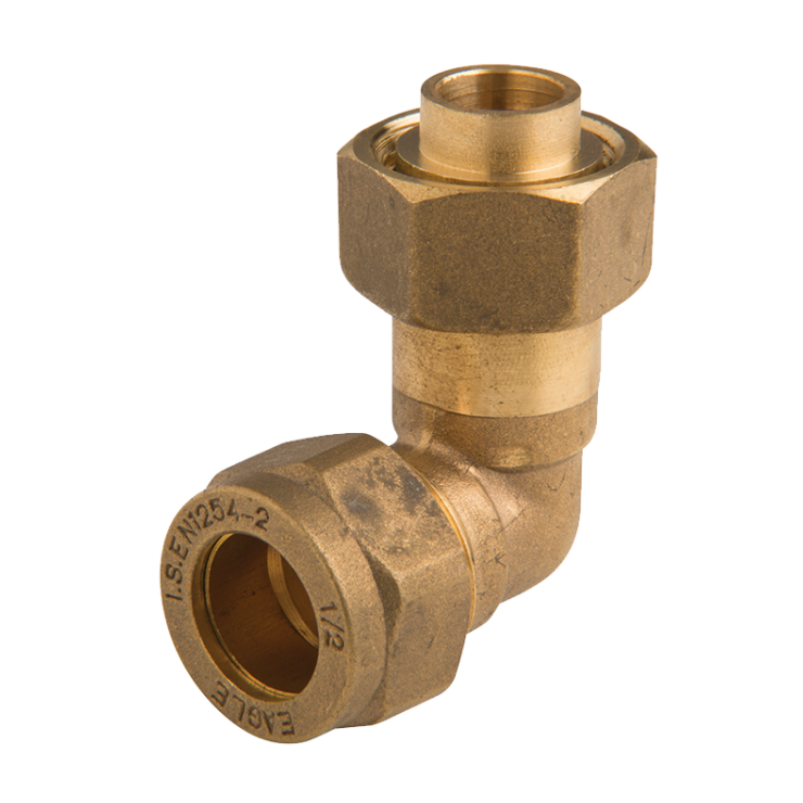 Brass Compression Swivel Elbow