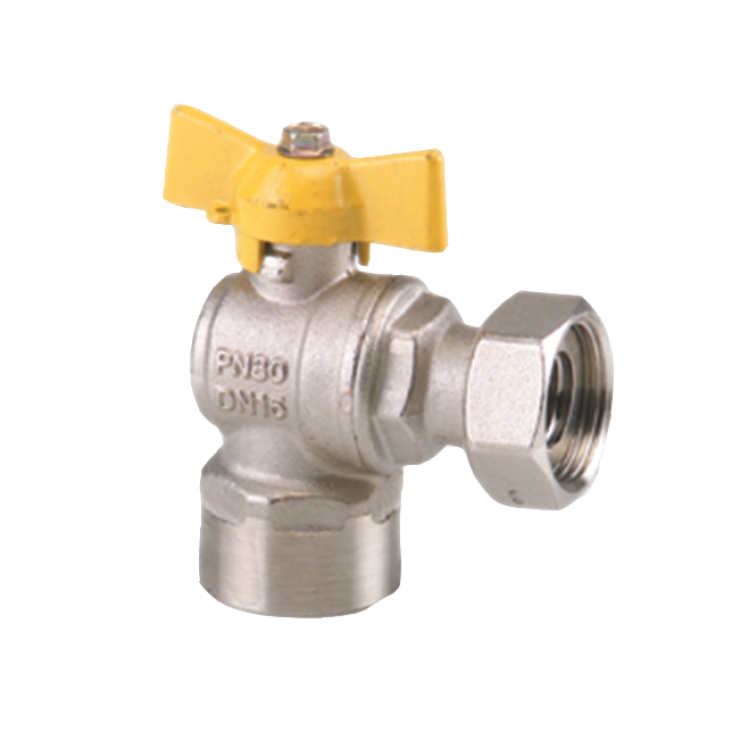 Gas Ball Valve Angle Female Swivel Nut