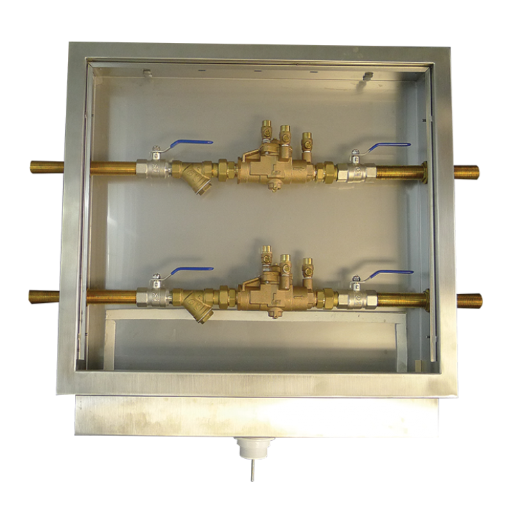 Twin recessed Backflow cabinet with 2 x 009 valves