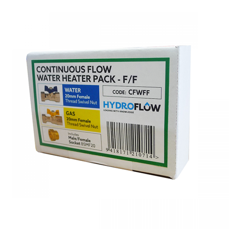 Continuous Flow Water Heater Pack for Water & Gas Female/Female
