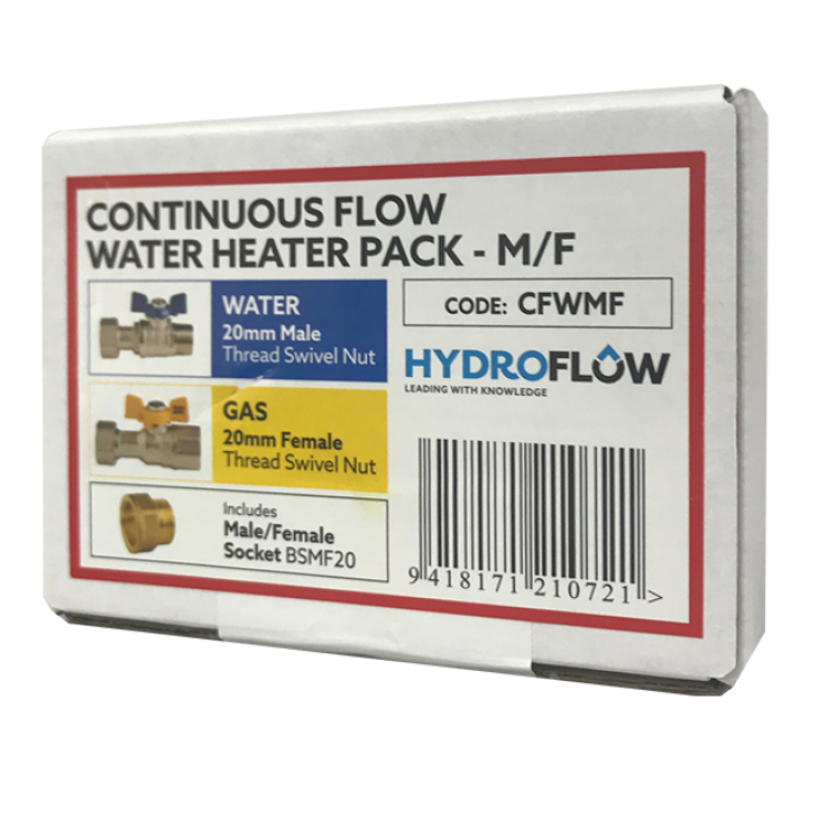 Continuous Flow Water Heater Pack for Water & Gas Male/Female